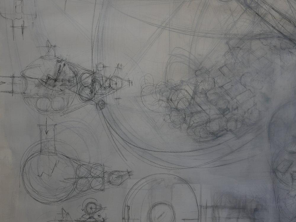 space habitat 02, studio drawing (detail), 2017  pencil, paper 150 x 180cm