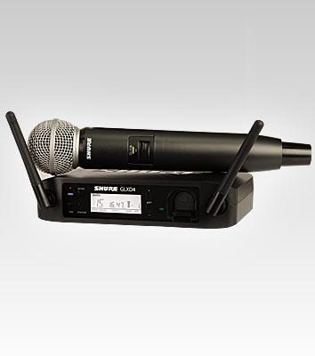Shure GLXD24-SM58 2.4Hz wireless microphone package (photo by Shure)