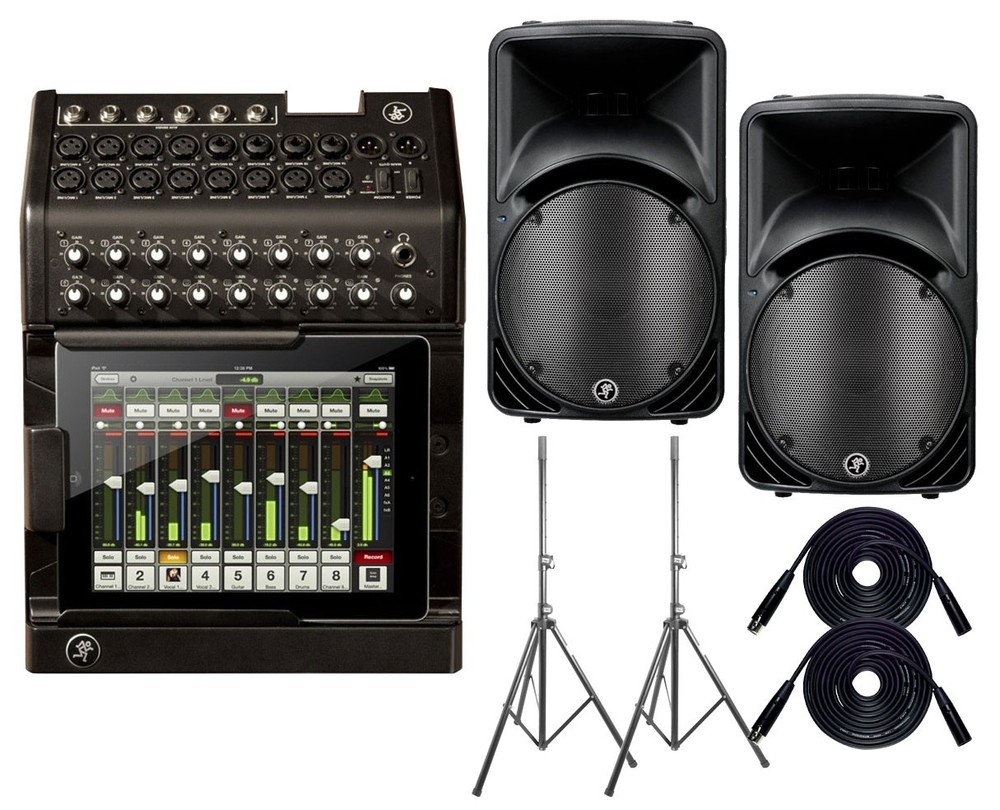 Basic digital PA system including Mackie DL1608 mixer and Mackie SRM450 powered speakers. You'll need to add iPad(s), iPhone(s), and a wireless router, along with mics, stands, and possibly monitors to complete the rig.