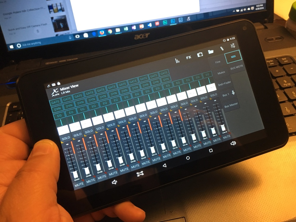 "Digiland DL718M 7"" Android tablet running Behringer X Air Edit app with a customized screen layout."