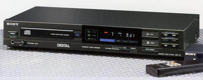 Sony CDP-70 single CD player. image found on Pinterest