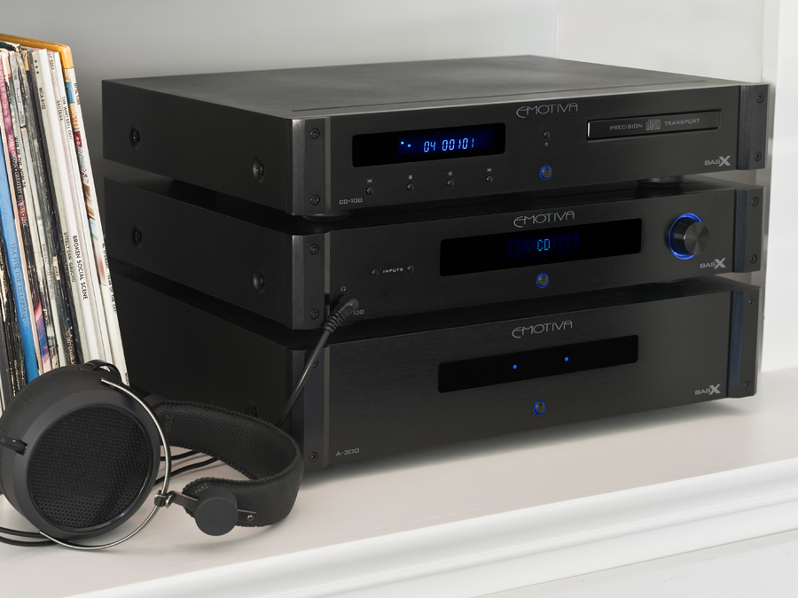 Emotiva CD-100 cd player, PT-100 preamp/DAC/tuner, and A-300 power amplifier.