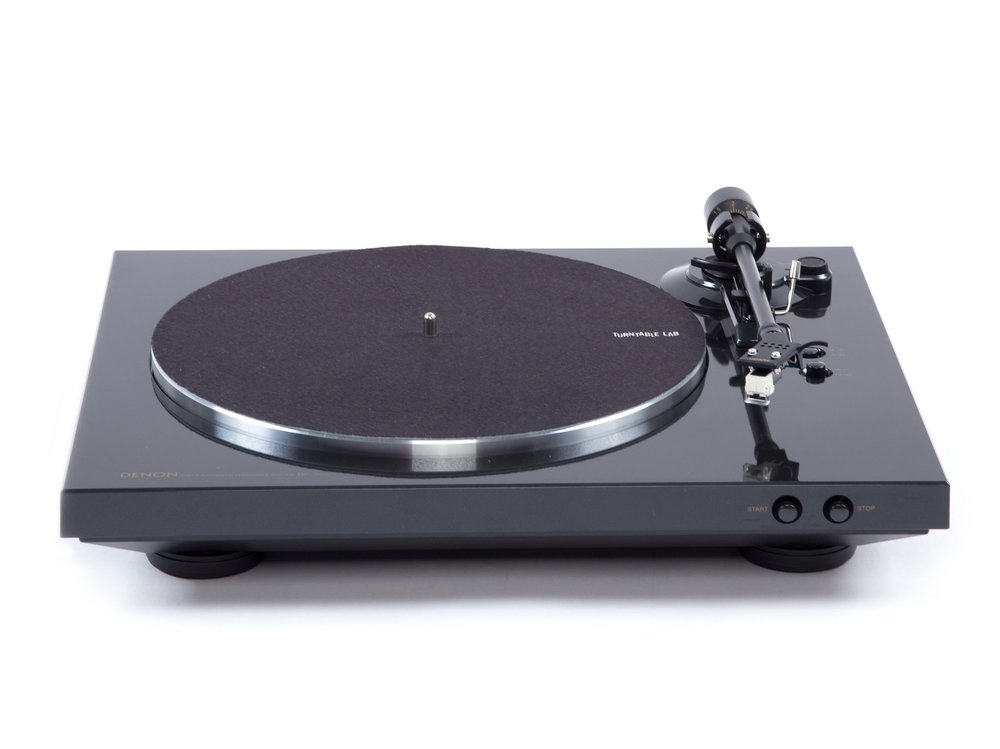 Denon DP-300F belt-drive automatic turntable with servo-controlled DC motor.