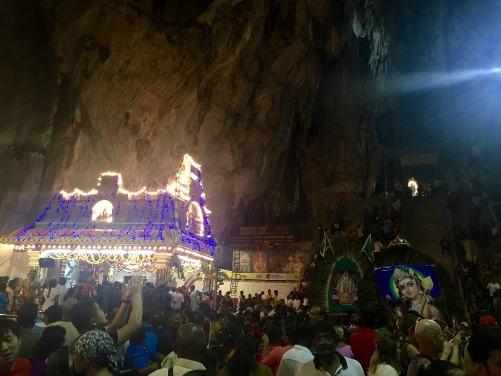 After the 272 steps, once inside Batu caves, the devotees make their offerings & receive blessings from the Hindu priests inside the temples.