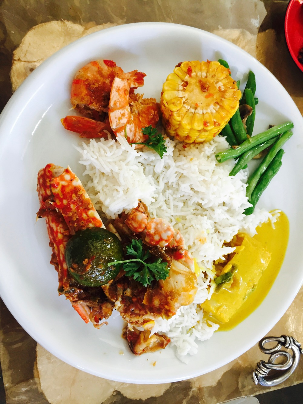 My yummy plate of spicy seafood goodness teamed with Gulai Lemak (coconut stew) and Sauteed French Beans as an accompaniment