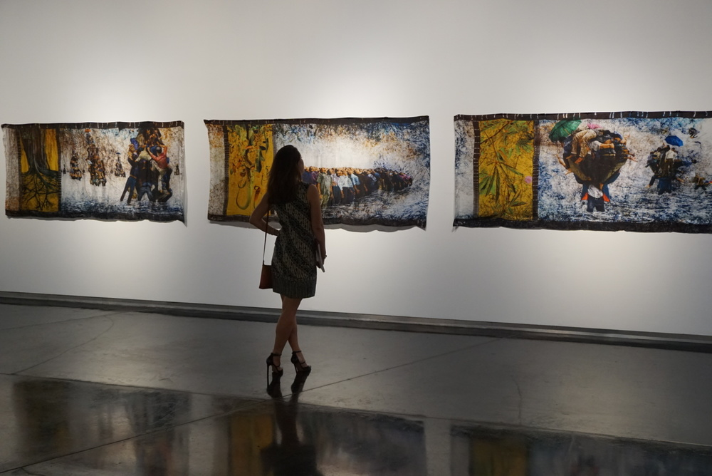 The Orang Besar Series by Yee I-Lann, 2010, features digital print, acid dye, batik canting, all on silk.