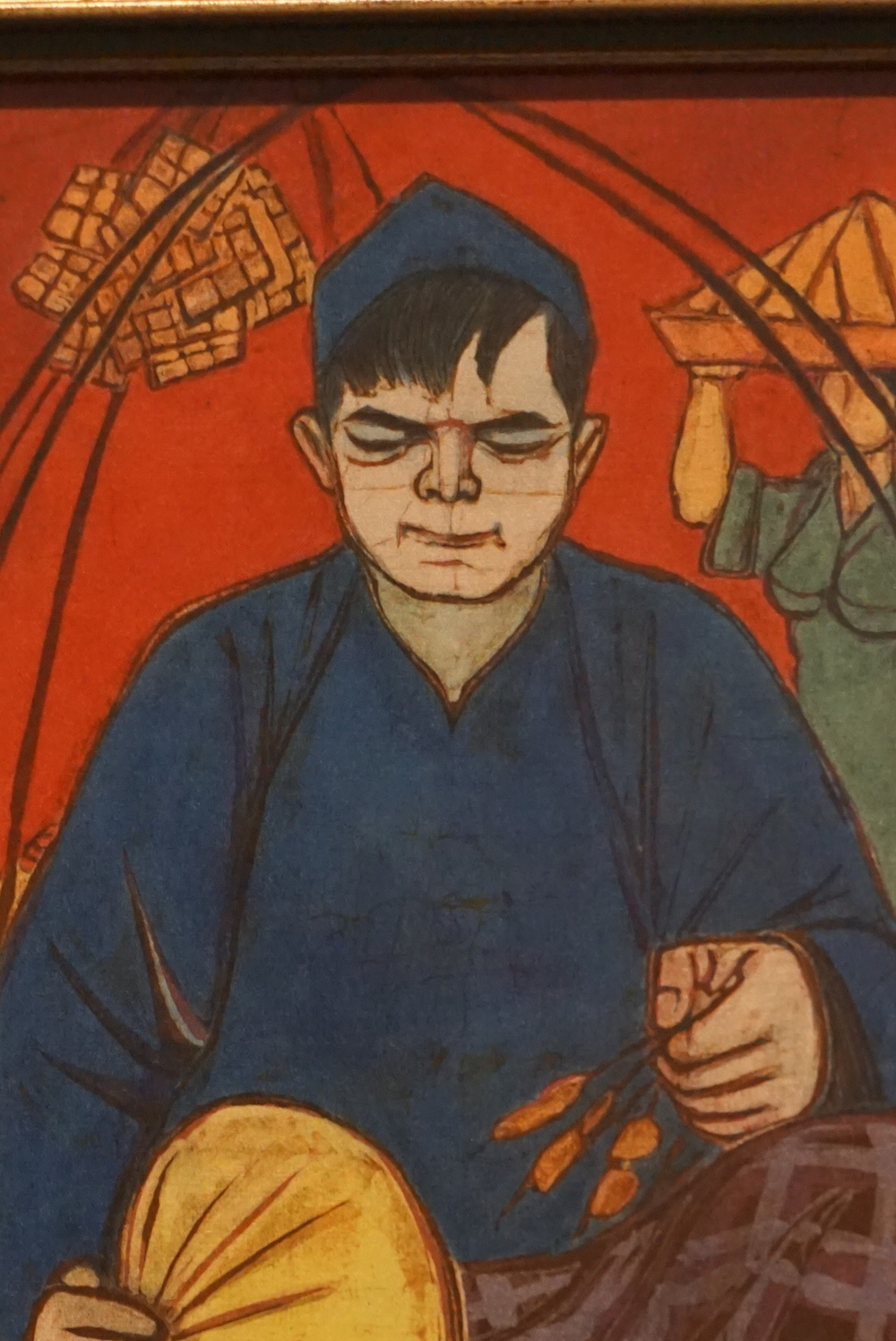 A close up of Chuan Thean Teng's painting of a Satay Seller, 1970, allows you to see the fine nuances in color and shading.