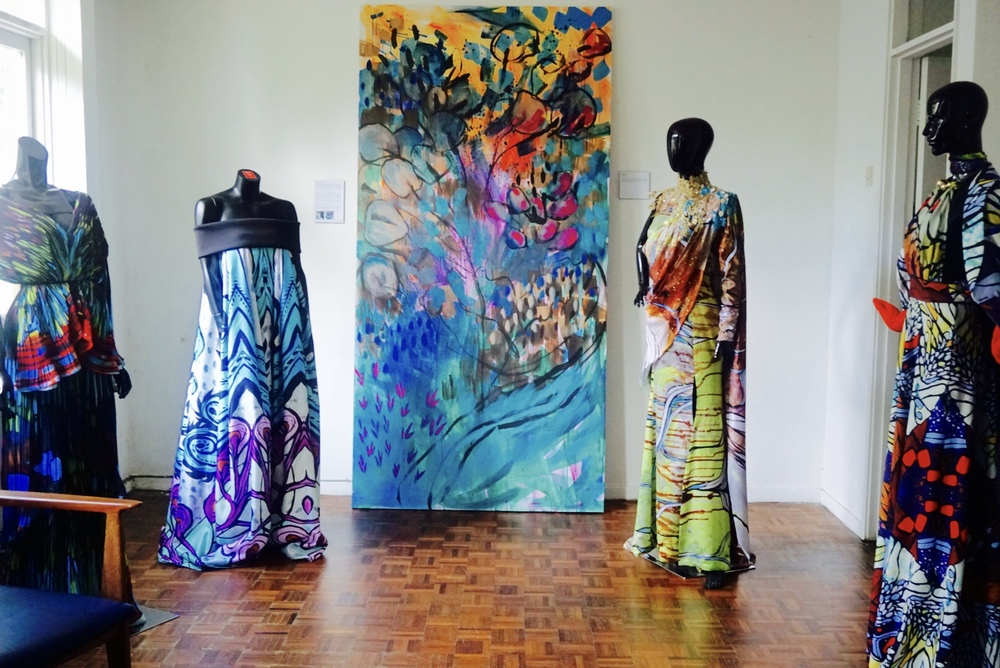 "Creative collaborations done with fashion designers (from l-r) (Alia Bastamam, Faizal Hamid, Adila Long and Syaiful Baharim).  In the centre lies ""Lushlife"", an acrylic on canvas painted this year."