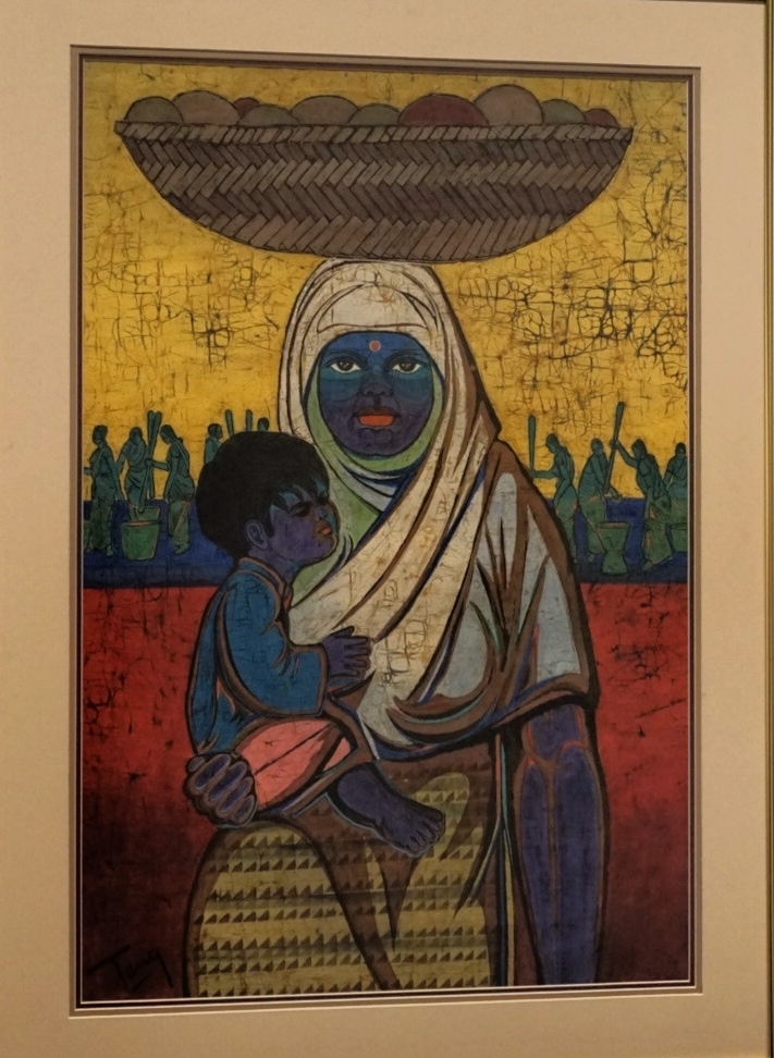 "Chuang Thean Teng's painting of a Malaysian Indian mother and child titled ""Festival Day"", 1968."