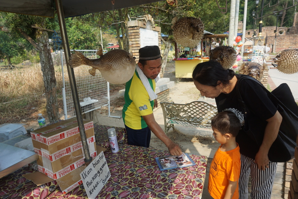 A booth selling Ikan Buntal otherwise known as Puffer Fish.