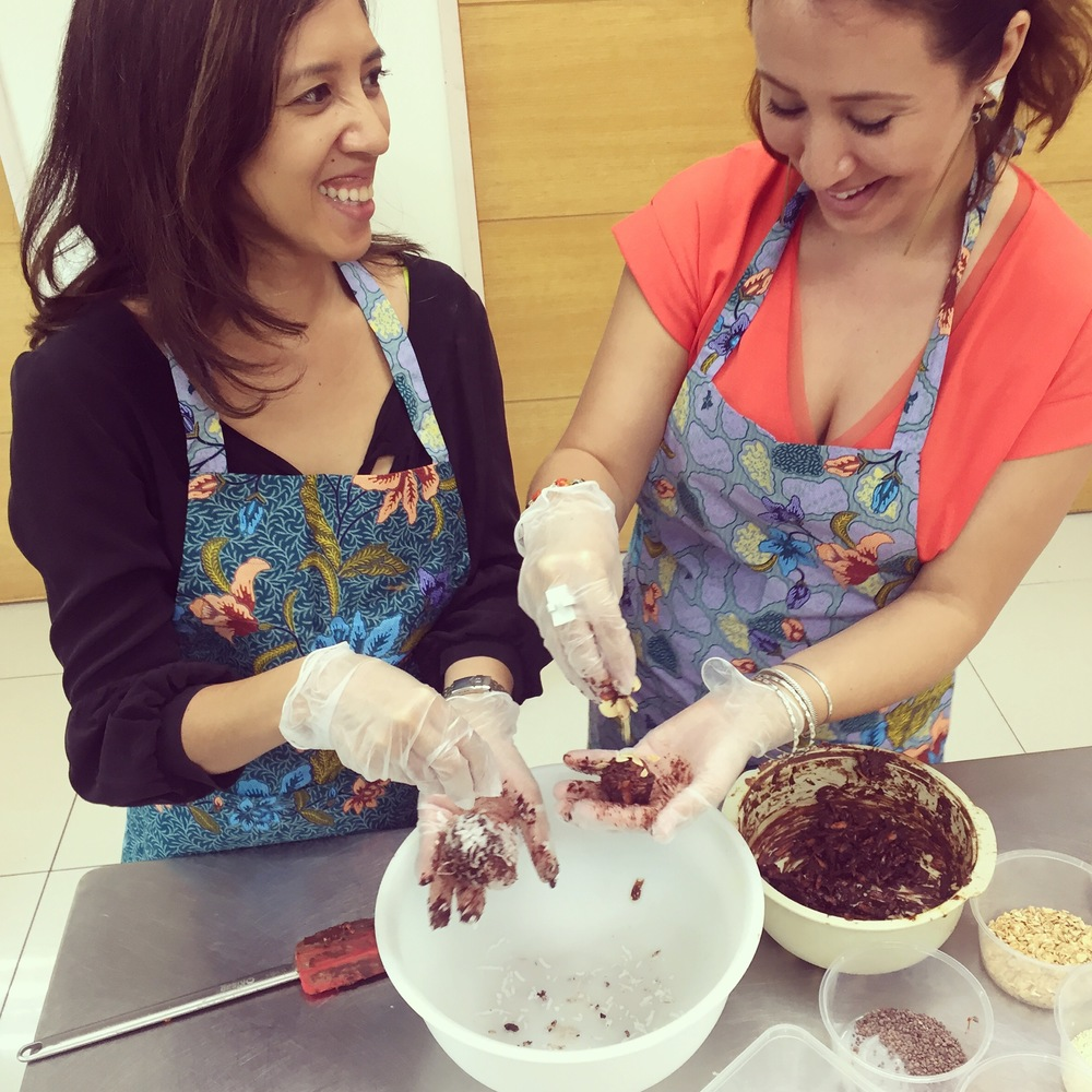 Farena & I make a ridiculously yummy mess out of all the chocolate and nuts.