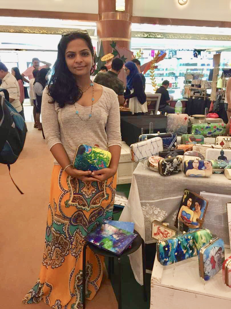 Shailly at one of the pop-up markets in KL, her bags have also caused quite a stir in Singapore!