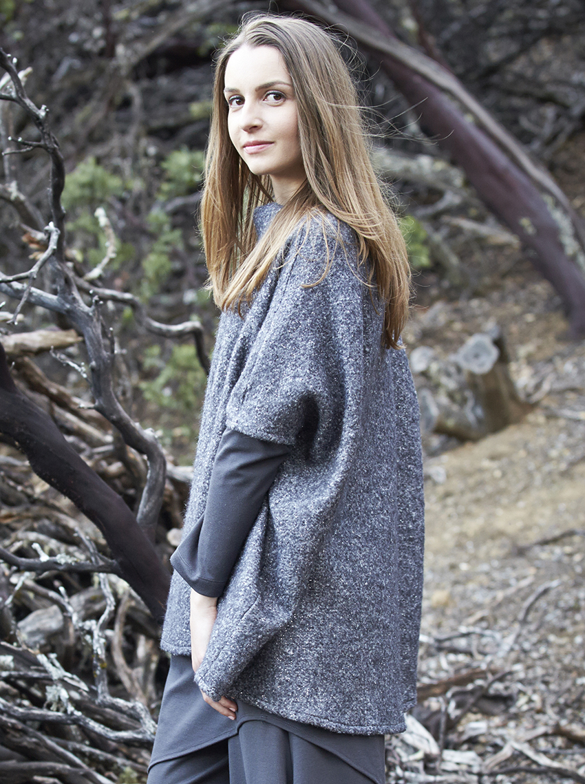 Debo Tunic in Quartz Ready for Cortina, Bertram Dress, Hamish Pant in Grey Modal Ponti