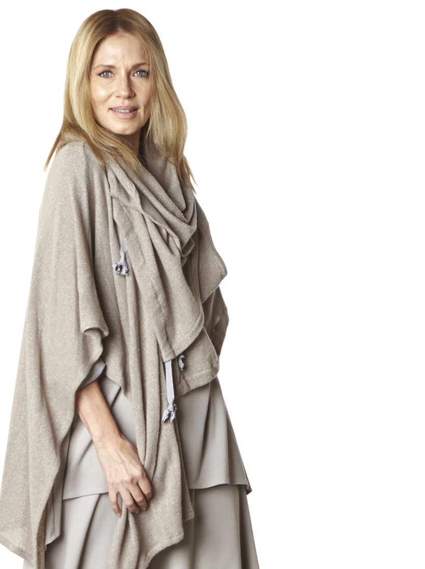 Wrap Poncho, Pennie Vest in Beige Sparkle Wool, Dorian Vest, Leo Tunic, Hamish Pant in Stone Modal Ponti, Legging in Cream Bamboo Cotton