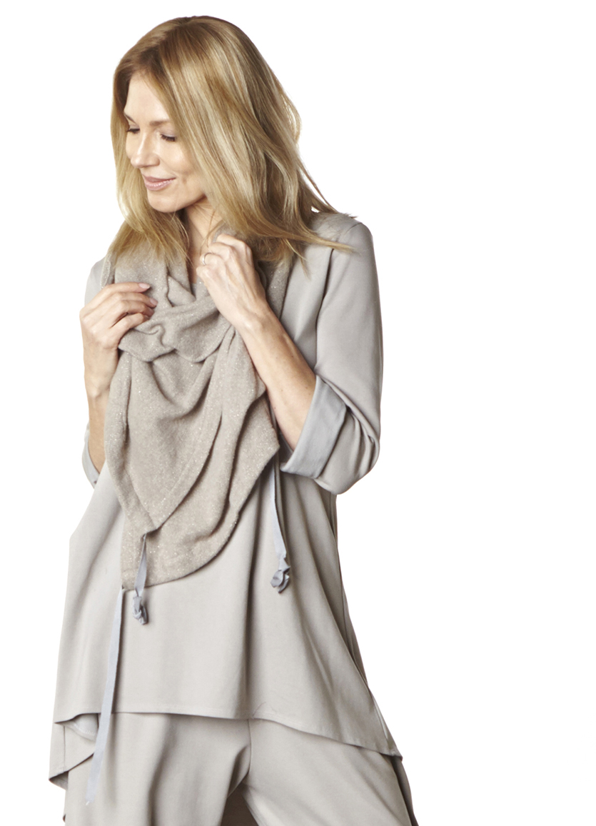 Wrap Poncho in Beige Sparkle Wool, Leo Tunic, Hamish Pant in Stone Modal Ponti