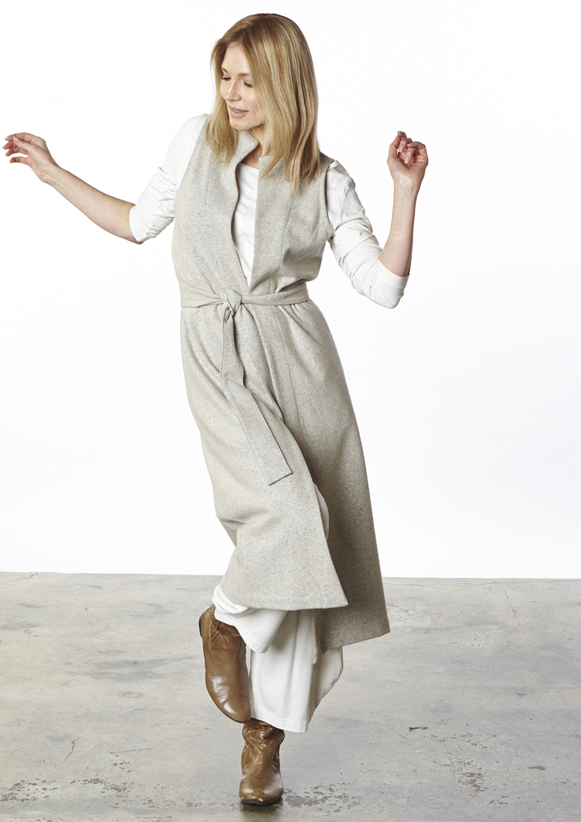 Toby Vest in Oatmeal/Grey Cotton Wool, Indiana Shirt, Hamish Pant in Cream Organic Bamboo Cotton