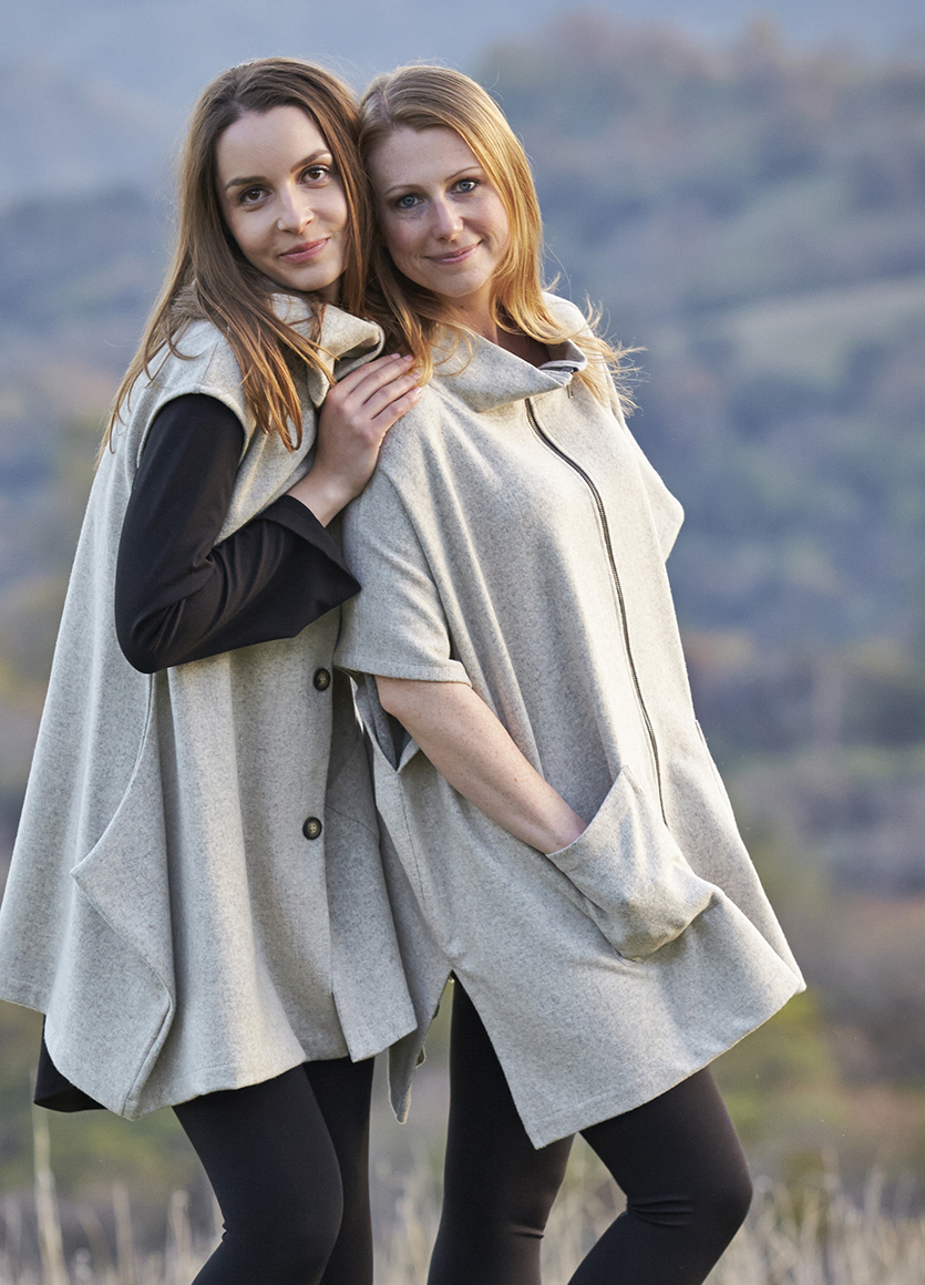 Ian Vest, Pip Poncho in Oatmeal/Grey Cotton Wool, Leo Tunic, Legging in Black, Stone Modal Ponti