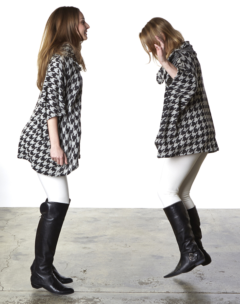 Cowlneck Poncho in Black/Beige Houndstooth Wool, Legging in Cream Organic Bamboo Cotton
