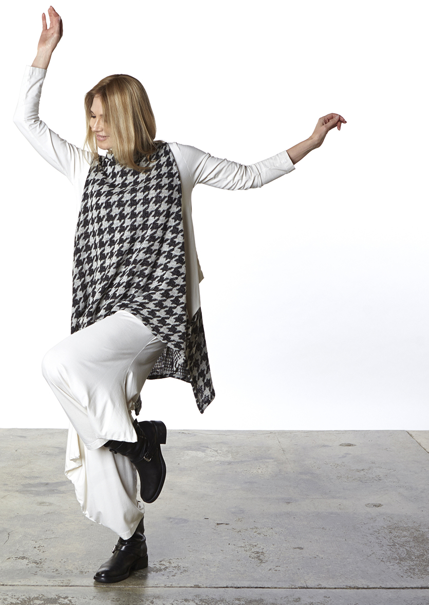 Dorian Vest in Black/Beige Houndstooth Wool, Indiana Shirt, Hamish Pant in Cream Organic Bamboo Cotton