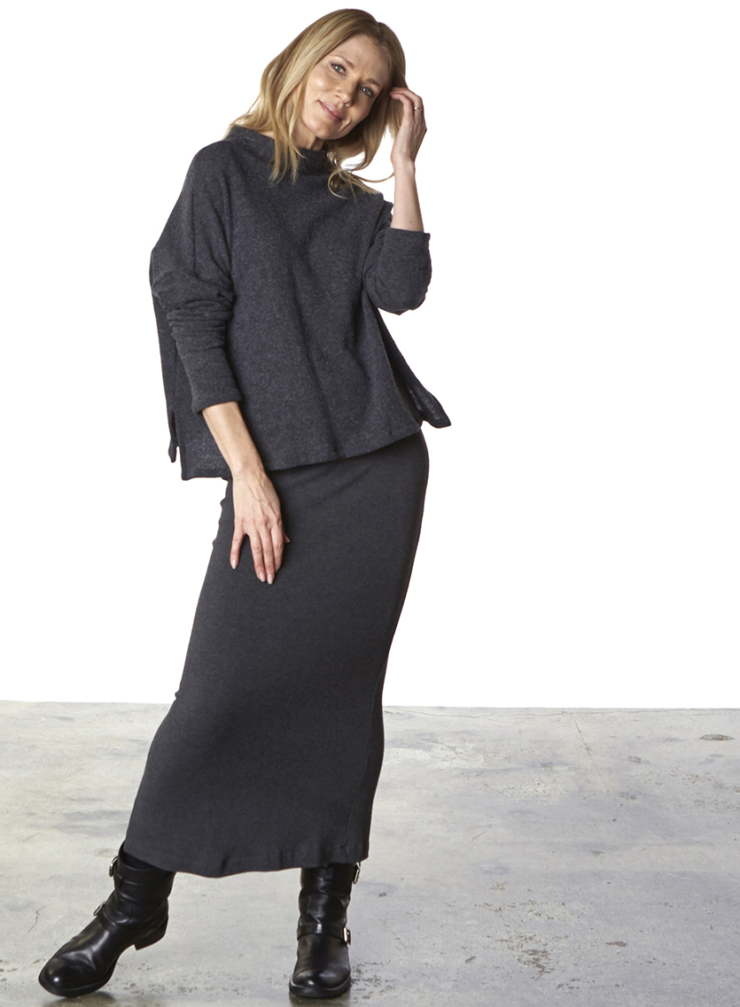 Taos Sweater in Grey Wool, Slim Skirt in Grey Viscose Jersey