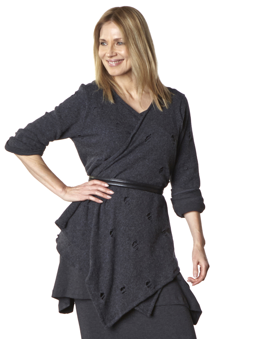 Liza Cardigan in Grey Ready for Godot, Nahla Tunic, Slim Skirt in Grey Viscose