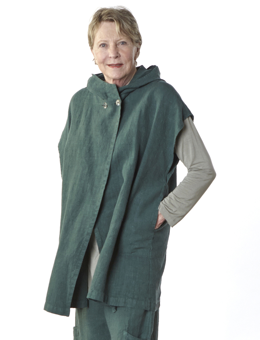 Alan Tunic in Jetty Bamboo Cotton, Viv Vest, Casbah Pant in Terrarium Heavy Linen