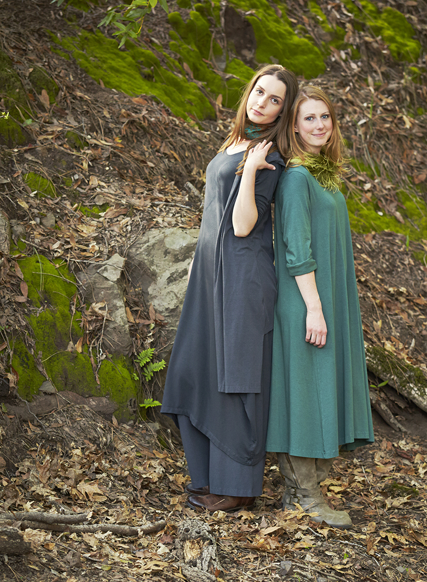 Edmund Vest, Palazzo Pant in Hebrides, Linus Dress in Terrarium Organic Bamboo Cotton, Long Shell in Quiver Micro Modal, Chelsea Dress in Hebrides Grey French Terry
