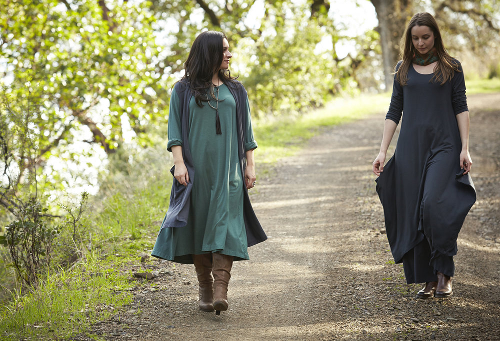 Edmund Vest, Palazzo Pant in Hebrides, Linus Dress in Terrarium Organic Bamboo Cotton, Chelsea Dress in Hebrides Grey French Terry