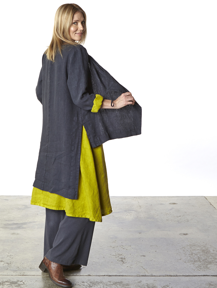 Linus Dress in Yuzu, Gaia Jacket in Hebrides Heavy Linen, Palazzo Pant in Hebrides Organic Bamboo Cotton
