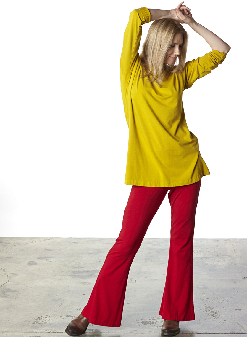 Daisy Tunic in Finch, Sylvia Pant in Gala Organic Bamboo Cotton