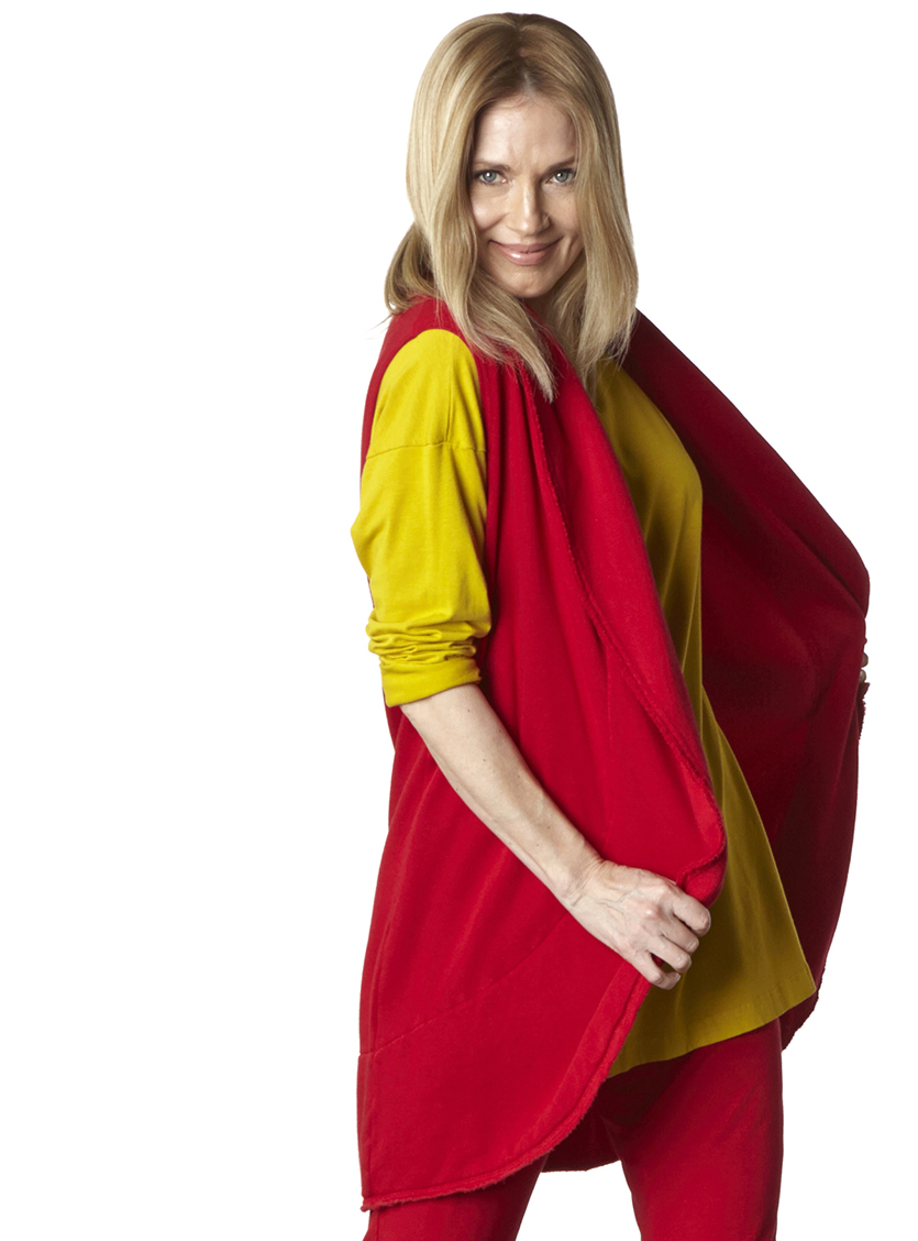 Wrap Vest in Gala Bamboo Fleece, Daisy Tunic in Finch, Sylvia Pant in Gala Organic Bamboo Cotton