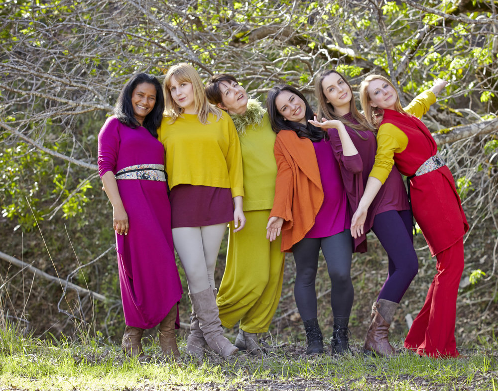 Daisy Tunic in Dendrobium Micro Modal, Short Wrap Coat in Lantern Bamboo Fleece, Chelsea Dress in Dendrobium Grey French Terry, Evan Tunic, Oliver Pant in Yuzu Bamboo Fleece, Bo Tunic in Opus, Legging in Nebula, Hebrides, Organic Bamboo Cotton,  Wrap Vest in Gala Bamboo Fleece, Daisy Tunic in Finch, Sylvia Pant in Gala Organic Bamboo Cotton