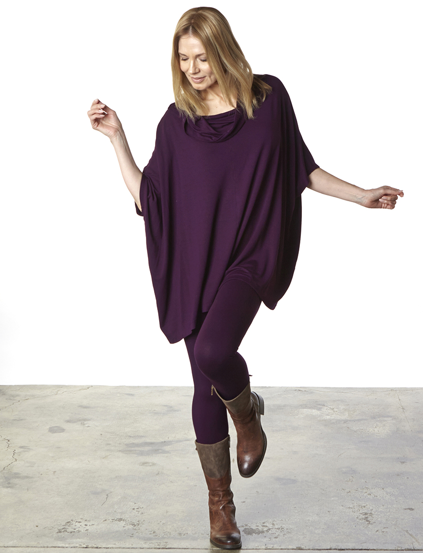 Cowlneck Poncho, Legging in Nebula Grey French Terry