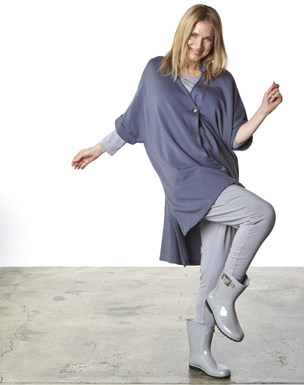 Charlu Vest in Equinox Bamboo Fleece,  Alan Tunic, Cargo Pant in Jetty Organic Bamboo Cotton