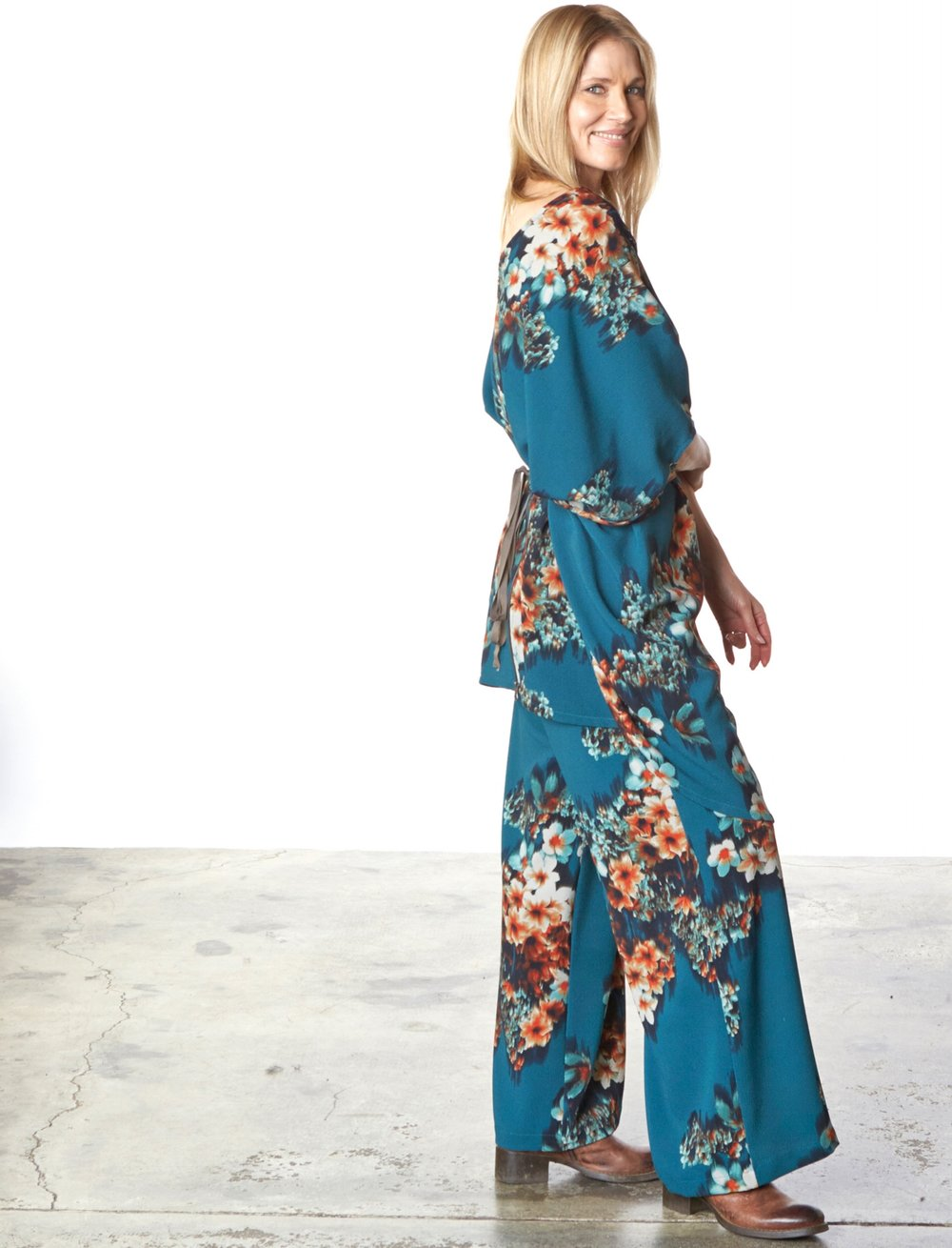 Rachel Dress, Long Full Pant in Teal Floral Print
