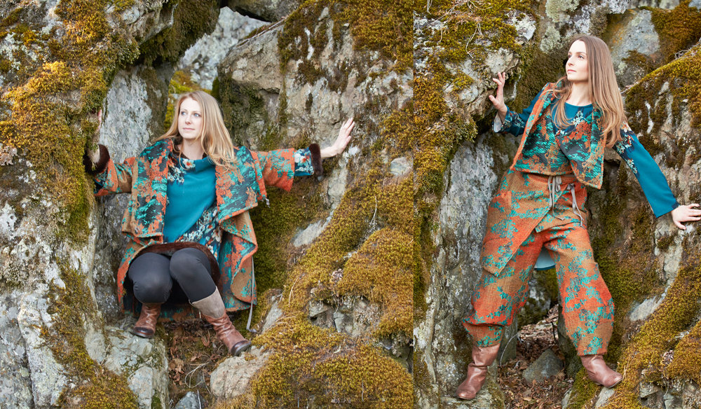 Bowie Jacket,  Julie Vest,  Oliver Pant in Orange/Teal Ready for Budapest, Aviva Dress, Leo Tunic in Teal Floral Print