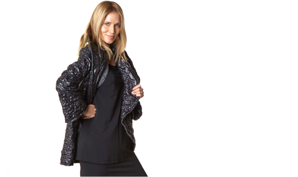 Short Wrap Coat in Black Ready for Reykjavik, Gabo Tunic, Slim Skirt in Black Viscose Jersey & Laminato
