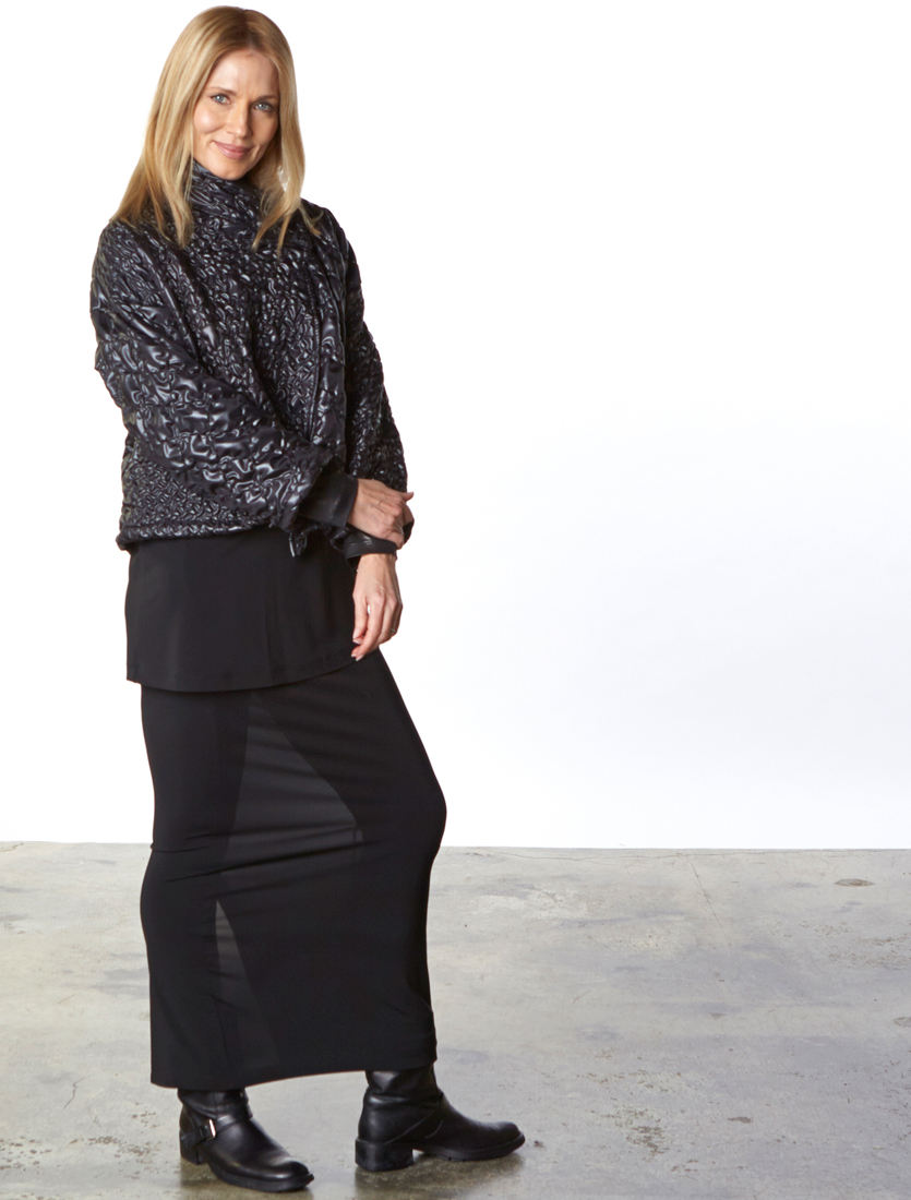 Greta Jacket in Black Ready for Reykjavik, Gabo Tunic, Slim Skirt in Black Viscose Jersey & Laminato