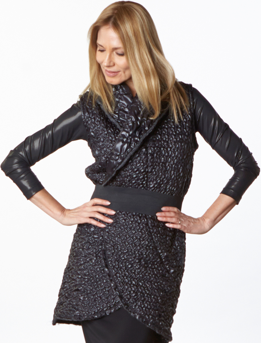 Wrap Vest in Black Ready for Reykjavik, Gabo Tunic, Slim Skirt in Black Viscose Jersey & Laminato