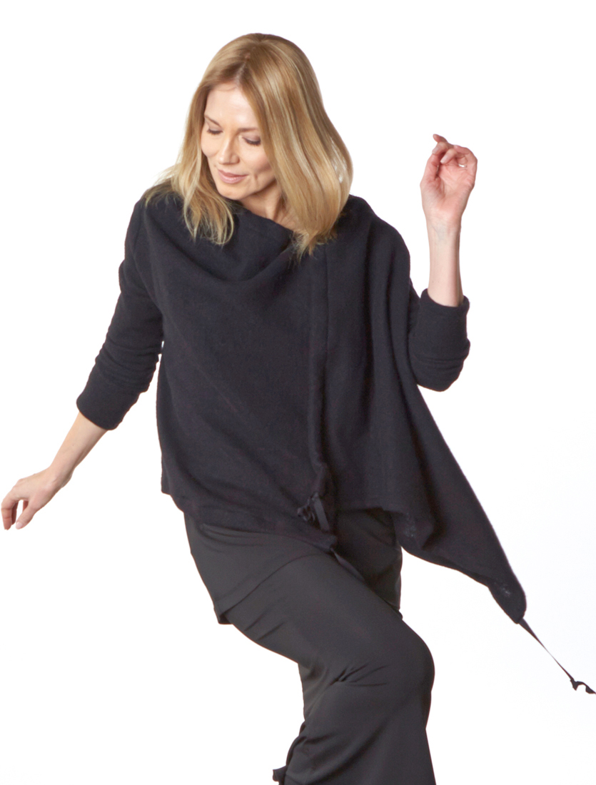 Eva Cardigan in Black Cashmere Wool, Gabo Tunic, Slim Skirt in Viscose Jersey & Laminato