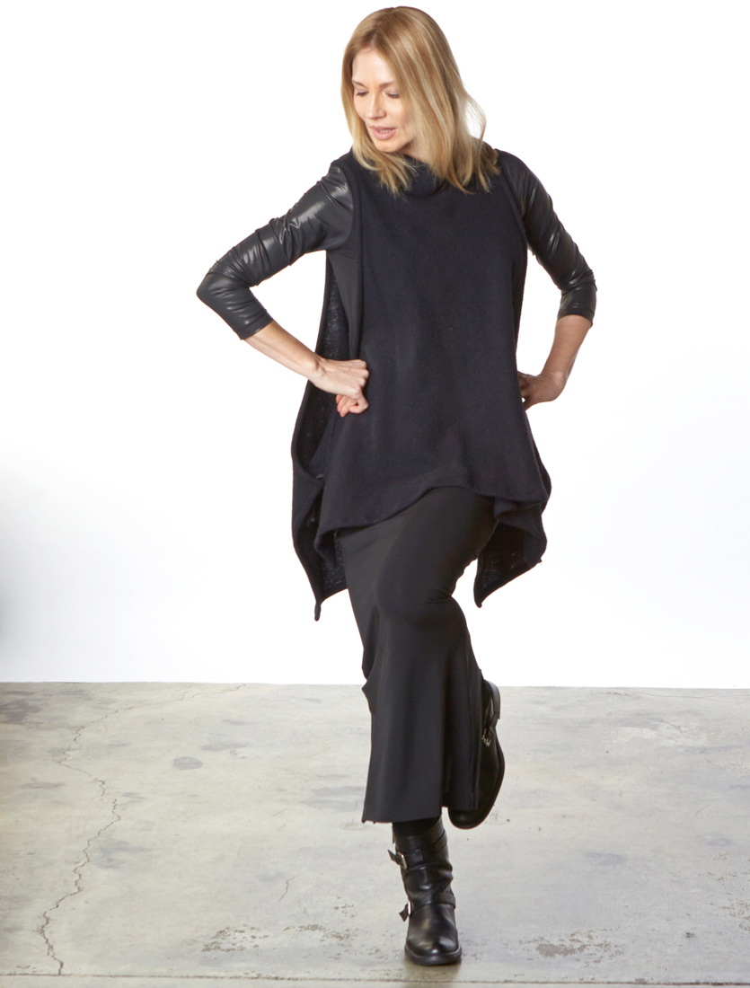 Slim Skirt in Black Ready for Zurich, Gabo Tunic in Black Viscose Jersey & Laminato, Dorian Vest in Black Cashmere Wool