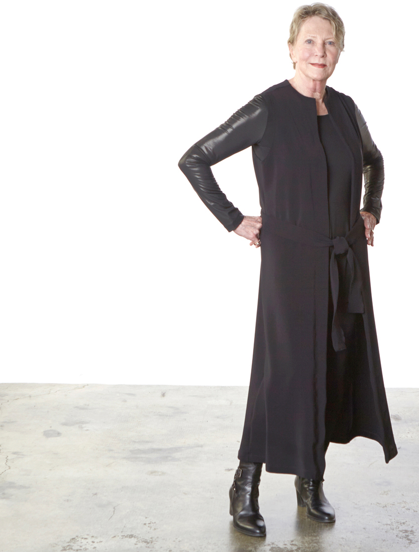 Slim Skirt, Gabo Tunic, in Black Viscose Jersey & Laminato, Toby Vest in Black Ready for Zurich