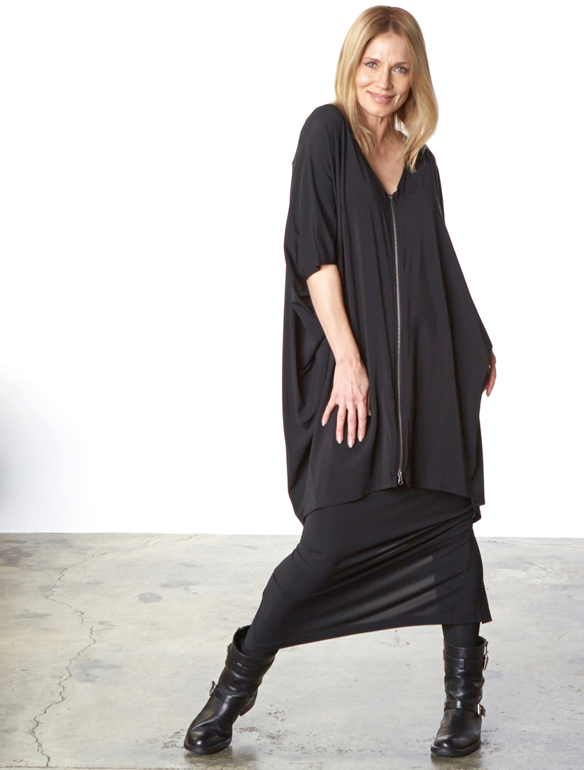 Rachel Dress in Black Viscose Jersey