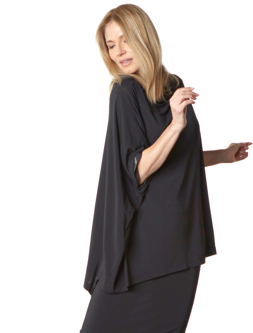 Slim Skirt, Dimitri Tunic in Black Viscose Jersey & Laminato