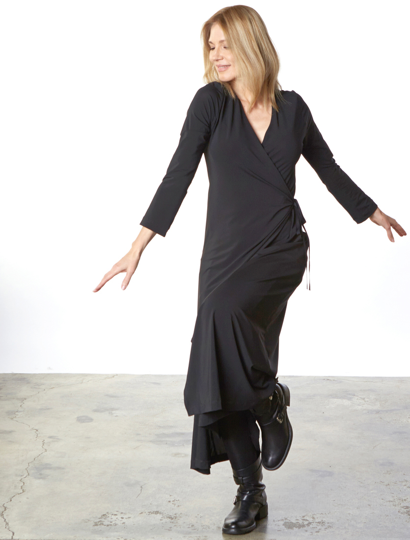 Wrap Dress in Black Viscose Jersey