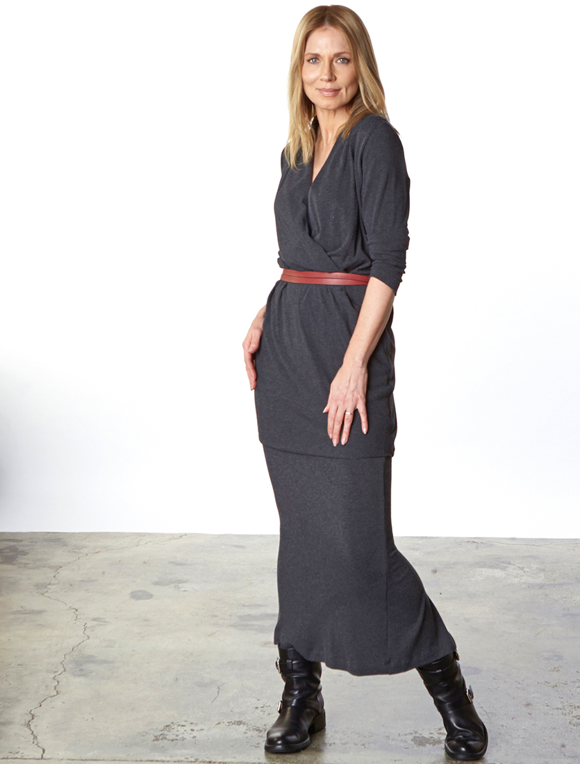 Belle Dress, Slim Skirt in Grey Viscose Jersey