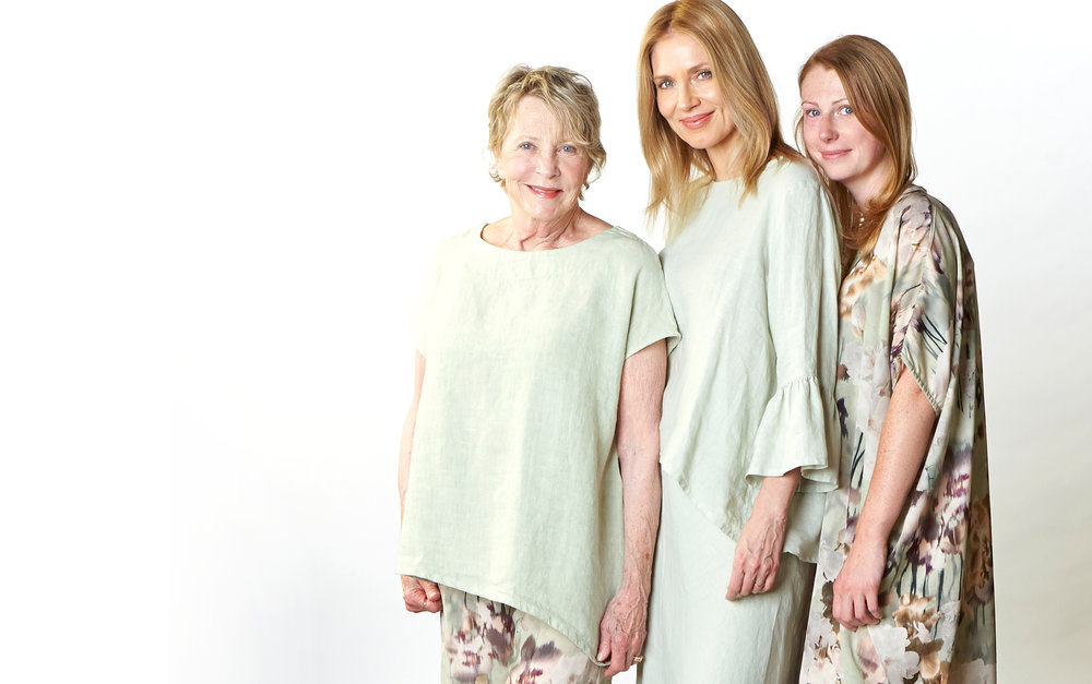 Ivy Shirt in Pistachio Heavy Linen, Long Full Pant in Fiesole Italian Polyester, Fran Shirt, Bias Skirt in Pistachio Light Linen, Oscar Pant in Pistachio Cotton Gauze, Petra Dress in Fiesole Italian Polyester