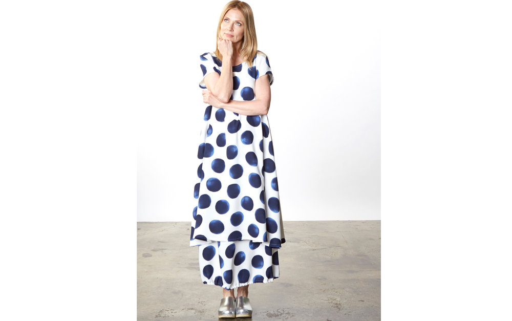 Winslow Dress, Bell Skirt in Blue Dots Italian Polyester