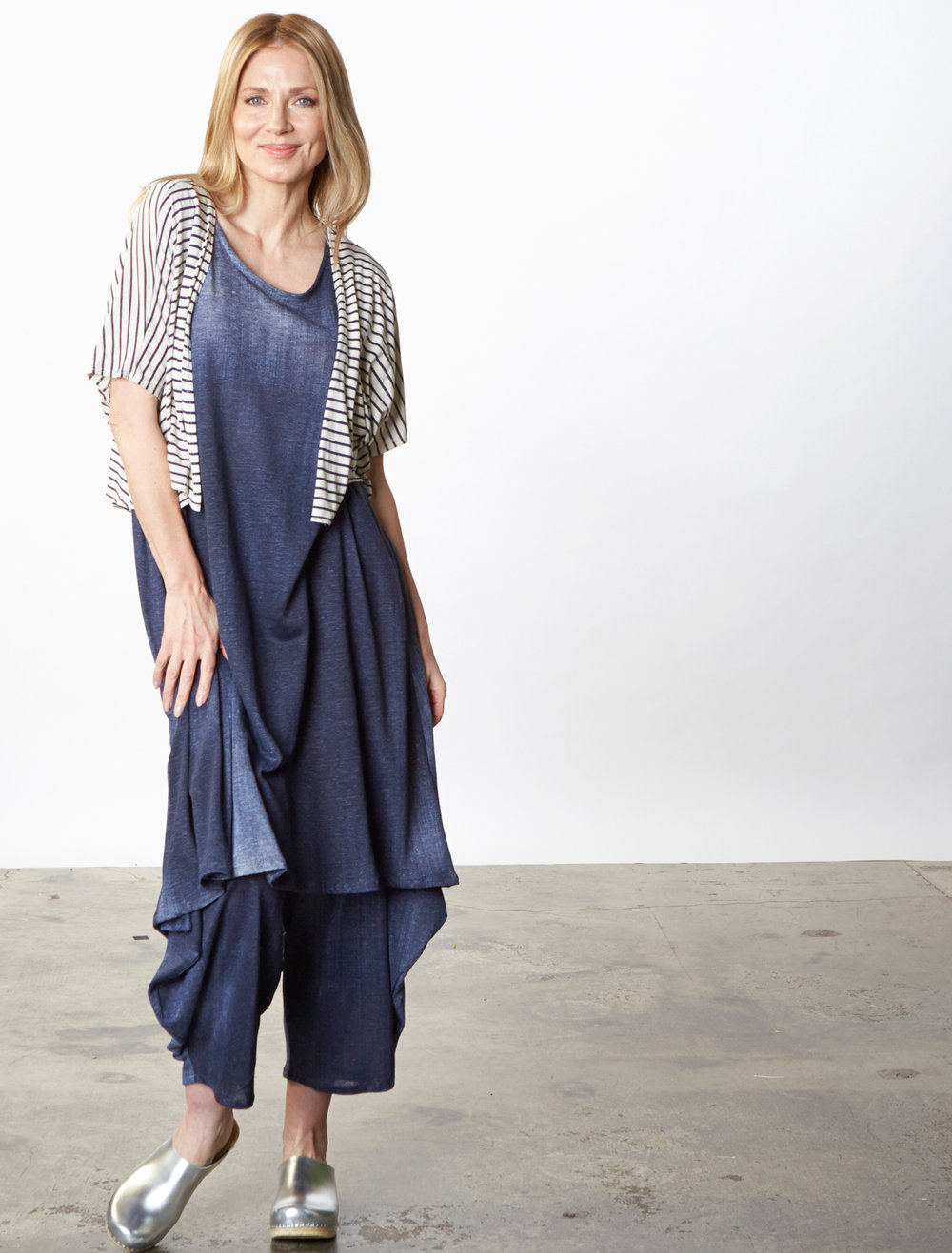 Crop Cardigan in Cream/Blue Italian Striped Jersey, Louie Dress, Hamish Pant in Blue Italian Stampato Linen