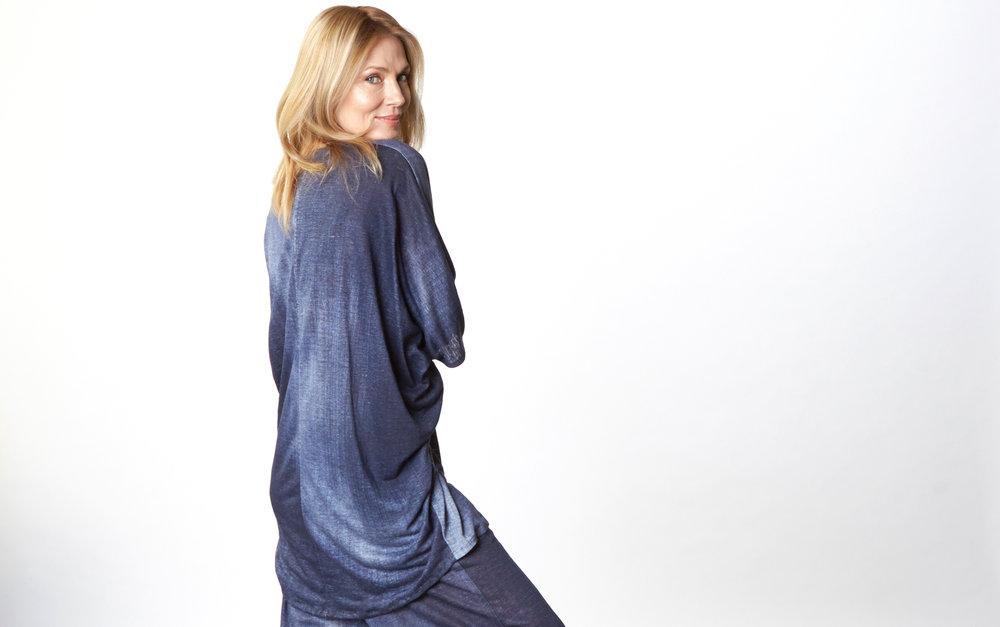 Raquel Tunic, Oscar Pant in Blue Italian Stampato Linen